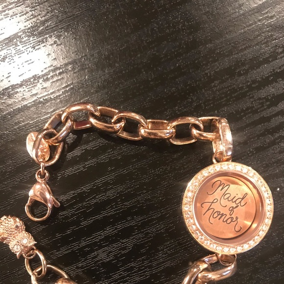 Origami Owl rose gold Maid of honor bracelet